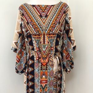 Ark & Co. Tribal Print Shift Dress w Belt Sz S